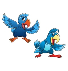 Cute blue cartoon parrot birds vector image