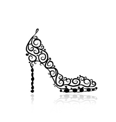 Female shoes sketch for your design vector image