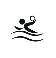 Swimmer playing water polo symbol for download vector image vector image