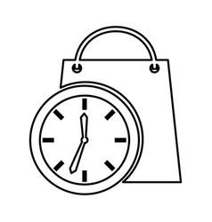 time clock with shopping bag isolated icon vector image