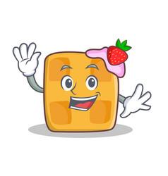 waving waffle character cartoon design vector image