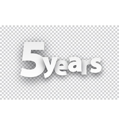 Five years paper sign vector image