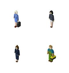 isometric people set of businesswoman girl vector image vector image