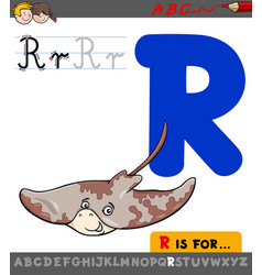 letter r with cartoon ray animal character vector image