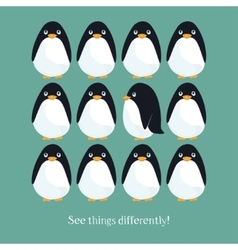 Motivating card with funny penguins vector image vector image