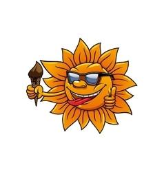 Cartoon hot sun with chocolate ice cream vector