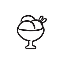 cup of an ice cream sketch icon vector image vector image