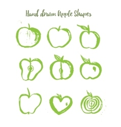 Green apple logo set in grunge style isolated on vector image vector image