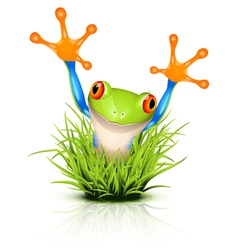 little frog in grass vector image vector image