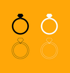 ring set black and white icon vector image vector image