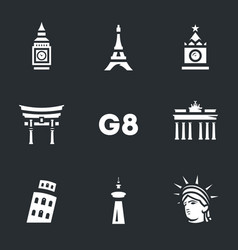 set of g8 countries symbols icons vector image vector image