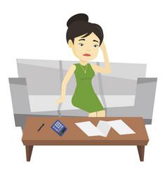 unhappy asian woman accounting home bills vector image vector image