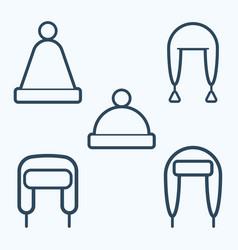 winter hat icon set symbol vector image
