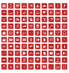 100 cyber security icons set grunge red vector