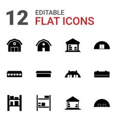 12 barn icons vector image