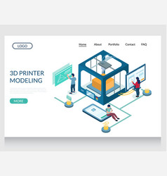 3d printer modeling website landing page vector image