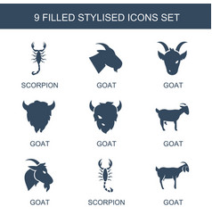 9 stylized icons vector