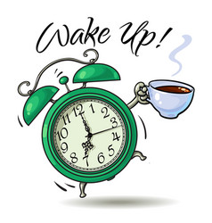 alarm clock with cup of hot coffee ringing vector image