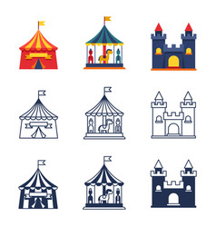 amusement park circus carnival icons collection vector image