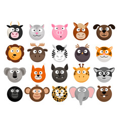 Animal emoticons set vector