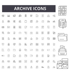 archive line icons signs set outline vector image
