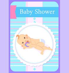 bashower greeting card kid lying on back play vector image
