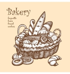 Basket With Bakery vector image
