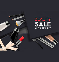 beauty sale poster with cosmetic products gift vector image