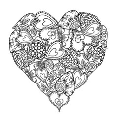 big heart of little hearts with floral decoration vector image