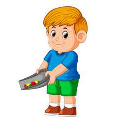 Boy using the blue cloth and standing to clean vector
