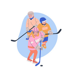 Boys and girl playing ice hockey game vector