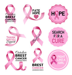 Breast cancer logo set realistic style vector