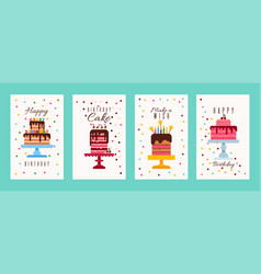 cake birthday banners or birthday invitation cards vector image