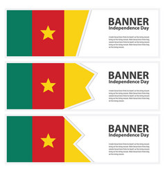 Cameroon flag banners collection independence day vector