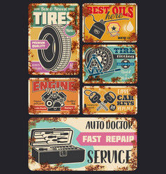 Car auto diagnostic service center rust posters vector