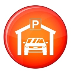 Car parking icon flat style vector