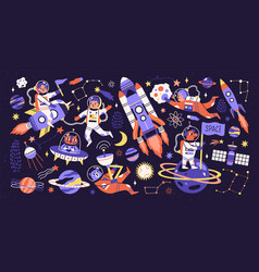 cartoon colorful characters astronaut asteroid vector image