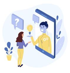 Chatbot conversation concept woman talking vector