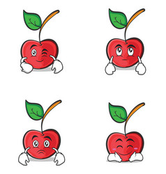 cherry character cartoon style of set vector image