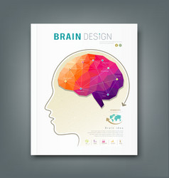 Cover Magazine skull and brain for business design vector image vector image