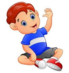 Cute boy waving hand vector image