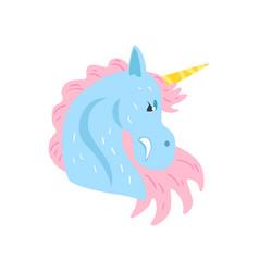Cute unicorn character cartoon vector