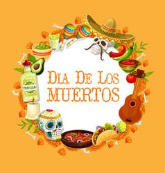 Dia de los muertos mexican day dead holiday vector