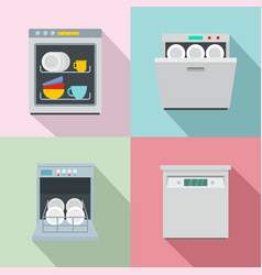 dishwasher machine kitchen icons set flat style vector image