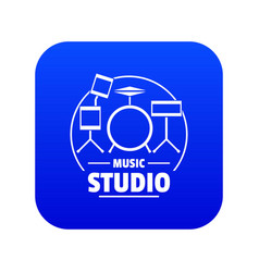 Drum kit icon blue vector