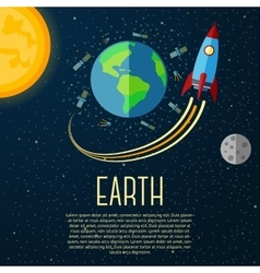 Earth banner with sun moon stars and space vector image
