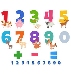 Educational numbers set with funny farm animals vector
