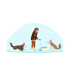 Eskimo wearing traditional clothes fishing wth vector