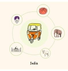 Famous India Symbols Doodle Concept vector image