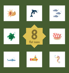 Flat icon nature set of algae playful fish vector